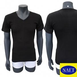 Naft Heren T-shirt V-hals Zwart