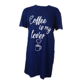 Fun2wear Dames Bigshirt Donkerblauw Coffee
