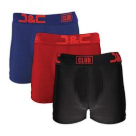 J&C Underwear Heren Boxershort 4485 3-Pack Rood