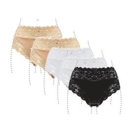 J&C Underwear Dames Slip 805 5-Pack Beige, Wit, Zwart