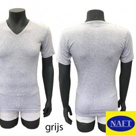 Naft Heren T-shirt V-hals Grijs Melange