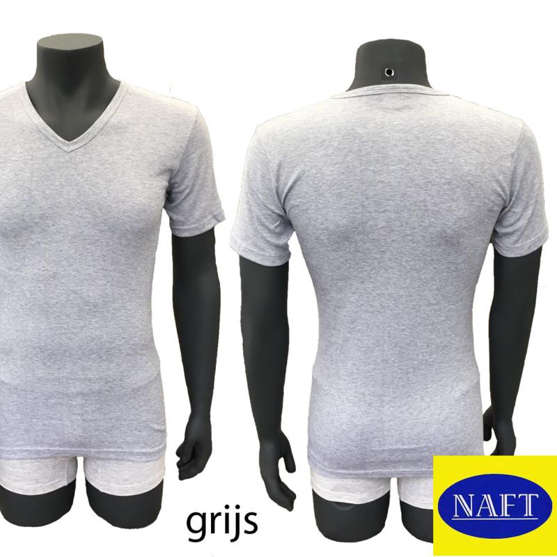Naft Heren T-shirt V-hals 6-pack Grijs Melange