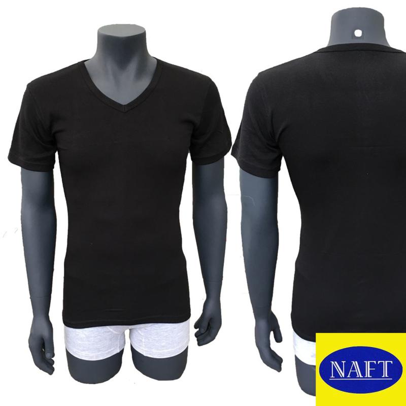 Naft Heren T-shirt V-hals 6-pack Zwart/Wit
