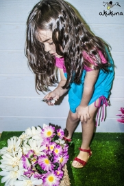 Fleurige jurk Bubu Turquisa (Akukuna) van biologisch katoen