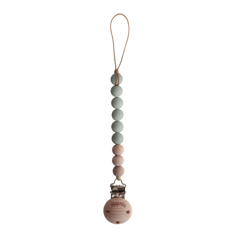 Mushie Fopspeenketting Sage/Wood