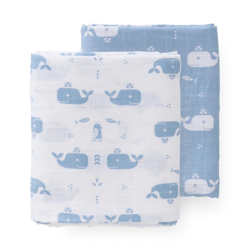 Swaddles set 2st 120x120cm Whale blue fog
