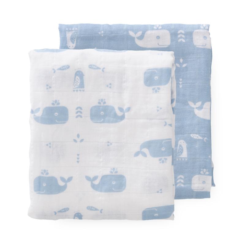 Swaddles  set 2st 70x60cm Whale blue fog