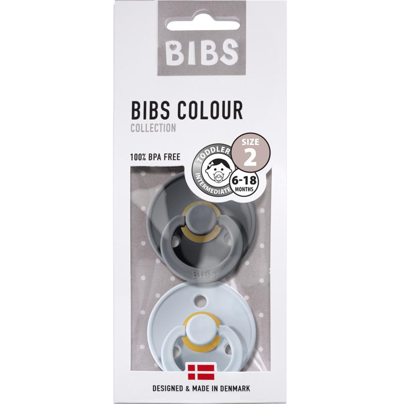 Bibs Blister fopspeen 2st T1 (0-6 mnd) Iron-baby blue