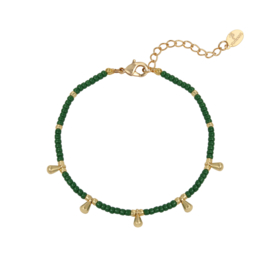 Armband- Drops 'groen en goud'