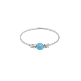 Ring- Steentje 'zilver&blauw' maat 17