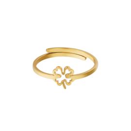 Ring- Open Clover 'goud' verstelbaar