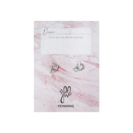 Valentijns kaart- Open Heart 'oorbellen zilver'