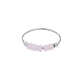 Ring- Blokjes 'zilver & roze' maat 17