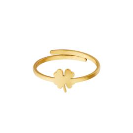 Ring- Clover 'goud' verstelbaar