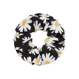 Scrunchie- Daisy Flowers 'zwart'