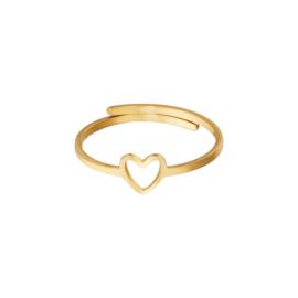Ring- Open Heart 'goud' verstelbaar