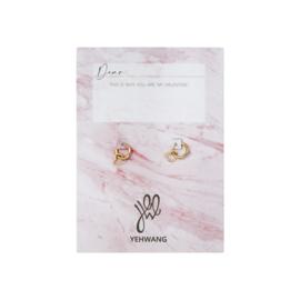 Valentijns kaart- Open Heart 'oorbellen goud'