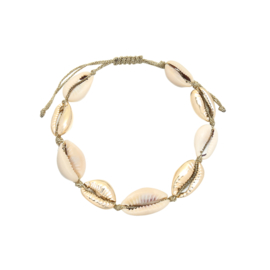 Armband- Schelpjes ' wit & goud'