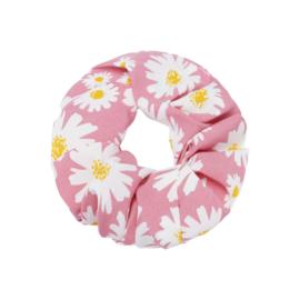 Scrunchie- Daisy Flowers 'roze'