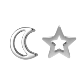 Oorbellen- Moon and Star 'zilver'
