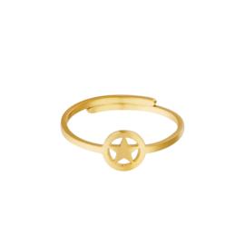 Ring- Open Star 'goud' verstelbaar