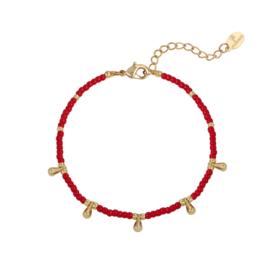Armband- Drops 'rood en goud'