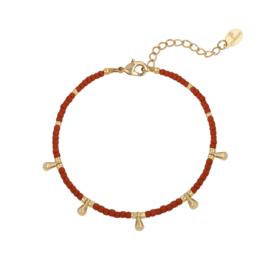 Armband- Drops 'bruin en goud'