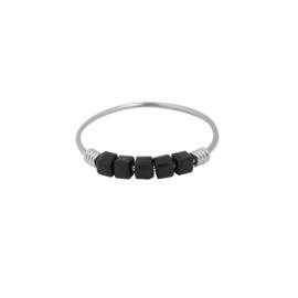 Ring- Blokjes 'zilver & zwart' maat 17