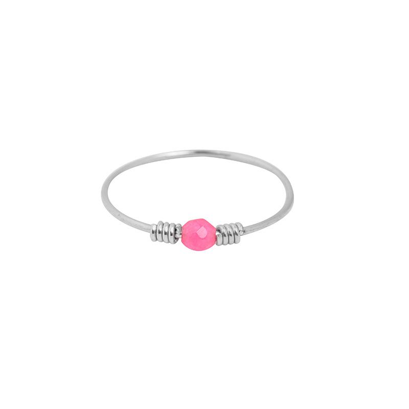 Ring- Steentje 'zilver & roze' maat 18