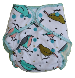 Fluffy Nature Bamboo Onesize Snaps - Birds