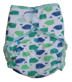 Fluffy Nature Bamboo Onesize Velcro - Whales