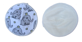 Fluffy Nature Bamboo Nusing Pads Elephant - 3 Pair with mesh bag