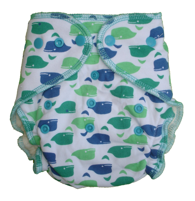 Fluffy Nature Bamboo Onesize Snaps - Whales