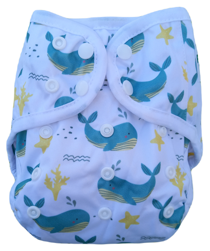 Fluffy Nature cover Onesize (snaps) (3,5-15kg) - Whales