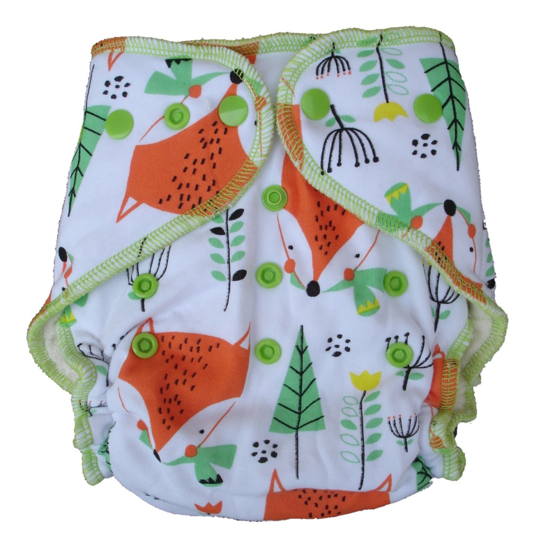Fluffy Nature Bamboo Onesize Snaps - Foxes
