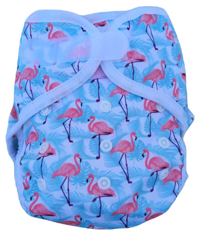 Fluffy Nature cover Onesize (velcro) (3,5-15kg) - Flamingo