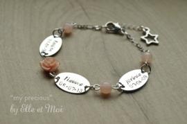gepersonaliseerd armbandje 'my precious' verzilverd • 3 naamplaatjes •