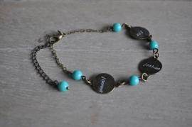 gepersonaliseerd armbandje 'my precious' brons • 3 naamplaatjes •