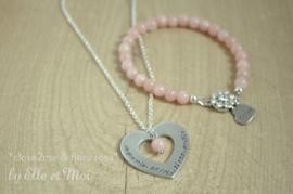 Setje ketting 'Close2Me' + armbandje 'Fiora rosa'  • op maat gemaakt •