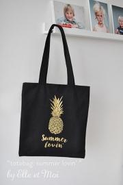 Zwarte canvas shoppingtas met zomerse illustratie