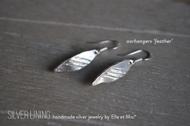 oorhangers 'feather' • 925 Sterling zilver •