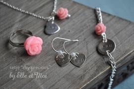 Kindersetje 'my precious' verzilverd roze • op maat gemaakt •