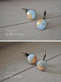 handgeschilderde oorhangers 'blue moon'