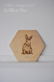 Hexagon illustratie dier - print op hout