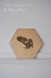 Hexagon Eagle - print op hout | handgemaakt