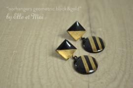 handgeschilderde oorhangers 'geometric black&gold' MAAR 1 SETJE BESCHIKBAAR