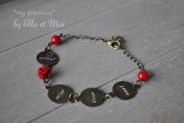 gepersonaliseerd armbandje 'my precious' brons • 5 naamplaatjes •