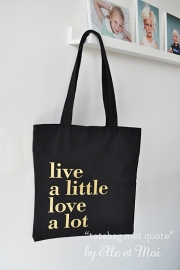 Zwarte canvas shoppingtas met quote