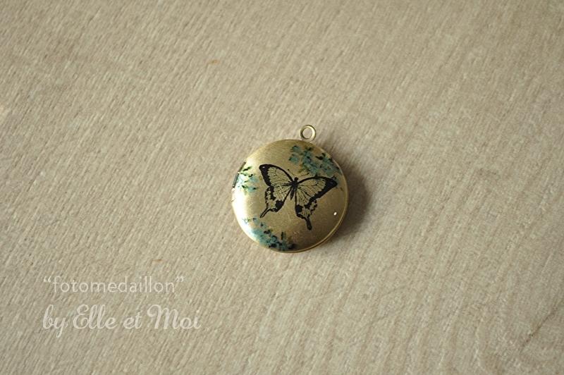 kleine fotomedaillon 'vlindertje' (20 mm)