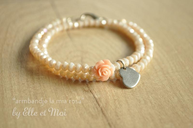 gepersonaliseerd armbandje 'la mia rosa' dubbel
